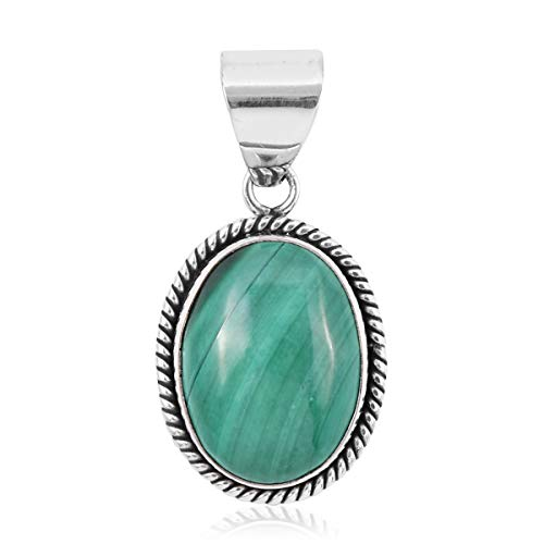 Pendant Necklace 925 Sterling Silver Oval Malachite Jewelry for Women