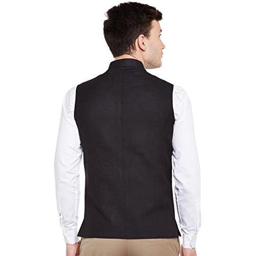 41wUE3kOfeL. SS500  - Wintage Men's Linen Blend Grandad Nehru Jacket Vest Waistcoat