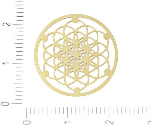 4pcs Gold Plated Hypoallergenic Stainless Steel Seeds of Life Mandala Filigree Laser Cut Flat Pendant Charm Earrings Metal Findings 20mm