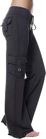 Macondoo Womens Sweatpant Yoga Wide Leg Pants Multi Pocket Bootleg Pants