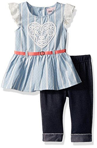 Little Lass Baby Toddler Girls' 2 Piece Fashion Capri Set, Chambray, 3T (Toddler Girls Capri Set)