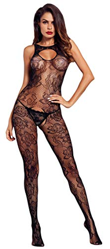 Jelord Women's Flower Embroidery Sleeveless Body Stocking Cutout Lace See Through Keyhole Front Bodystocking Nightwear/10-14US