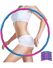 Homealexa Hoelahoep, hoelahoepel voor volwassenen en kinderen, 6-8-delige afneembare hoelahoep voor gewichtsverlies en massage fitnessbanden voor fitness, training, thuis of op kantoor