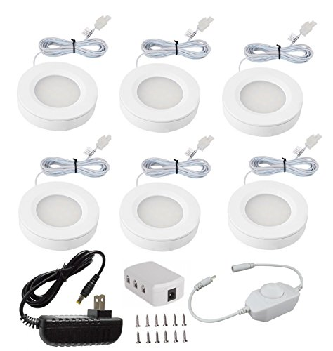 Xking K0631 Dimmable Pack Set of 6 LED Under Cabinet Lighting Kit – 12V Total 12Watt Warm White LED Puck Lights Closet Kitchen Cabinet Under Counter Lighting, Including Dimmer Switch