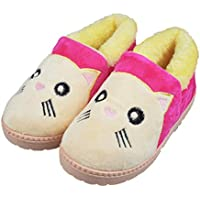 Girls Little/Big Kids Warm Plush Cat Slippers Hard Sole Cute Animal Indoor Outdoor Slip-on Shoes