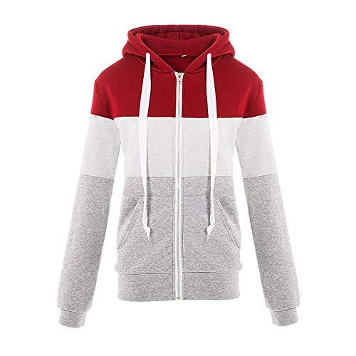 UOFOCO Zipper Hoodies Tops for Women Long Sleeve Tracksuits Autumn Winter Patchwork Blouse