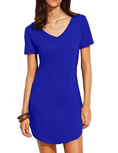 Haola Women's Casual Tops Dress Short Sleeve Shirts Dresses Juniors Dress Tops M Blue