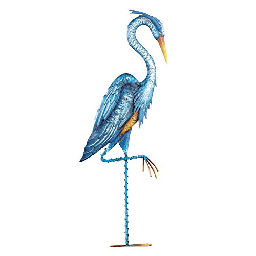 (Collections Etc Blue Heron Crane Metal Garden Décor - Hand-Painted Yard Stake, Blue)
