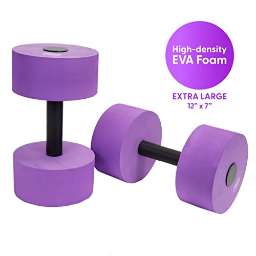 Sunlite Sports High-Density EVA-Foam Dumbbell Set - Soft Padded - Water Aerobics, Aqua Therapy, Pool Fitness, Water Exercise - Advanced Size (Purple, X-Large)