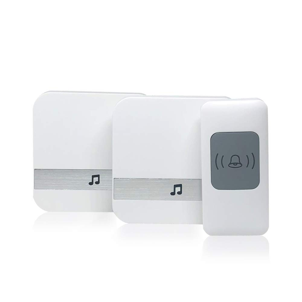 Wireless Doorbell,1 Receiver Plugin and 2 Remote Buttons Waterpoof Front Door Chime Operating at 1000 Feet with 52 Melodies Bee Huang
