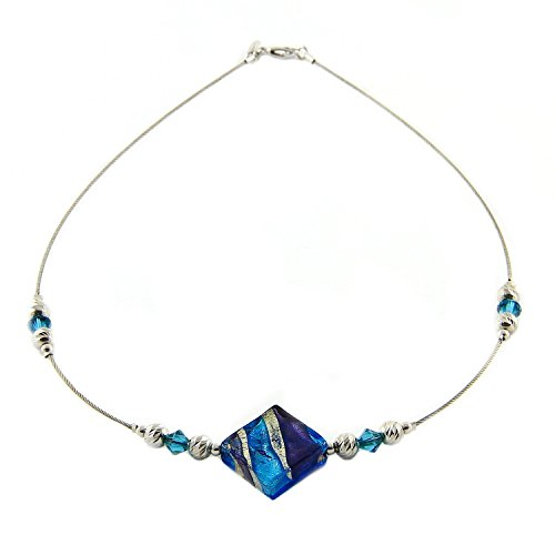 (Woman's choker in 925 silver, Murano glass and Swarovski crystals mounted on a stainless steel cable. CAR906-W07)