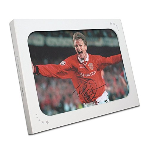 Champions League Goals - Teddy Sheringham Signed Manchester United Photograph In Gift Box: Champions League Goal