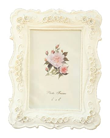 bca9d2cbecf Amazon.com   BEYLEG ® Baroque White Decorative Resin Photo Picture Frame  for 4x6 inch Photo   Single Frames   Baby