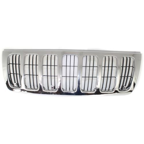 Make Auto Parts Manufacturing - New Grille Plastic, Chrome Shell with Black Insert, Laredo/Sports Model, w/o Emblem Provision For Jeep Grand Cherokee 1999-2003 - ()