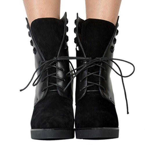 Shoes Handmade Ankle up Prom Black Lace Fashion CASSOCK Boots Winter Womens Party vqwp76