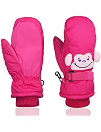 Kids Ski Gloves Snow Outdoor Winter Sports For Snowboarding,Kids Cute Skiing Gloves Mittens Momoon