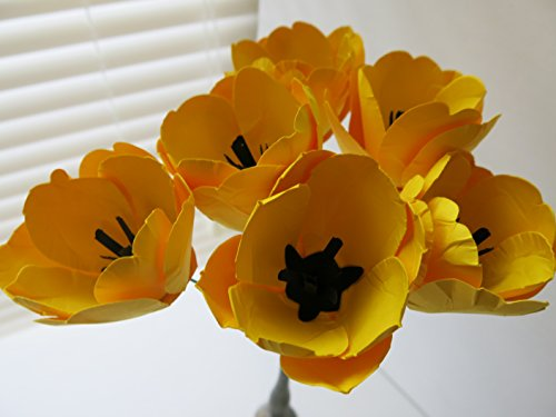 6 Paper Flower Tulips on Stems, Spring Floral Bouquet, Yellow Tulips, Sculpted Petals, Medium Size 2.5-3