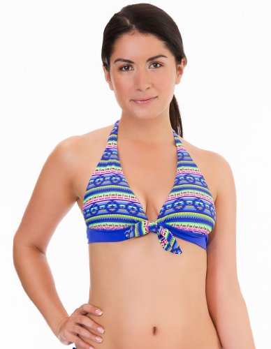 Womens Mio Swim Aztec Print and Blue Trim Bikini Halterneck Top NWT