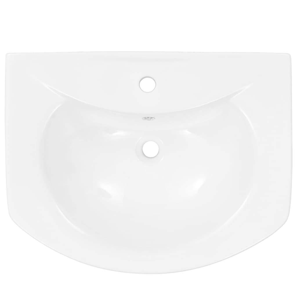 Festnight Vasque Lavabo Autoportant avec Socle C/éramique Blanc 650x520x200 mm