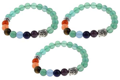 (3 Pack) TheAwristocrat 7 Chakras Buddha Beads Natural Stone Bracelets Wrist Mala for Meditation & Prayer