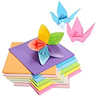 Hotpai Origami Paper with Double Side, 50 Vivid Colors - 200 Sheets - 6 Inch Square Sheet for Arts and Crafts Projects and Gifts