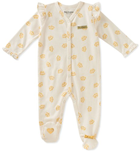 (Juicy Couture Baby Girls Sleeper, Vanilla/Gold, 0-3 Months)