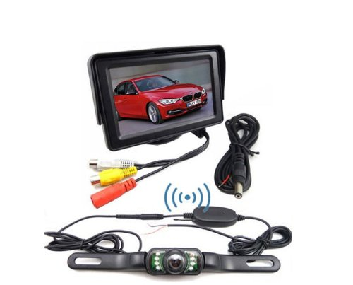 BW 4.3 inch TFT LCD Car Monitor Wireless Rear View IR Night Waterproof Parking Backup Camera System