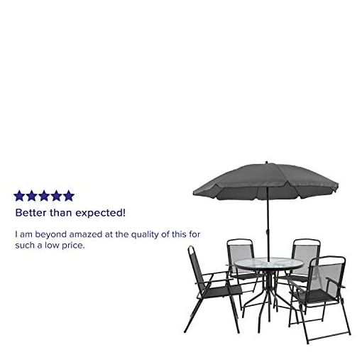 Garden and Outdoor Flash Furniture Nantucket 6 Piece Black Patio Garden Set with Umbrella Table and Set of 4 Folding Chairs patio dining sets