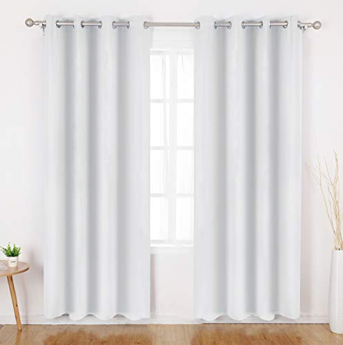HOMEIDEAS Greyish White Blackout Curtains - 2 Panels Room Darkening Curtains/Drapes, Thermal Insulated Solid Grommet Window Curtains for Bedroom & Living Room, 52 x 95 Inches ()
