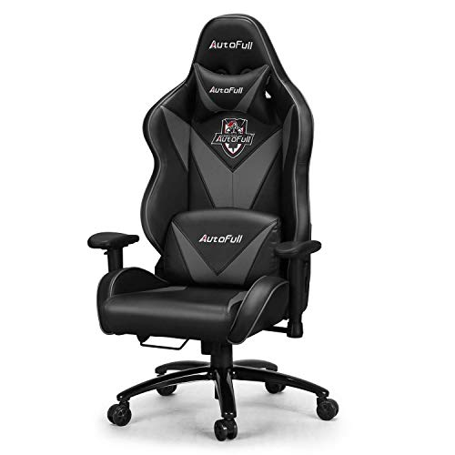 AutoFull Big and Tall Gaming Chair, Ergonomic Video Game Chair Adjustable Executive Office Computer Chair with Lumbar Support and Headrest (PU, Gray-9)