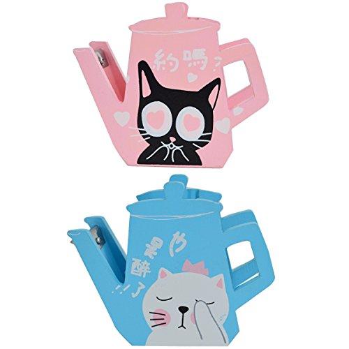 Clara Cute Teapot Shape Wooden Tape Dispenser Kawaii Cat Printing Desktop Tape Cutter(Color Random)
