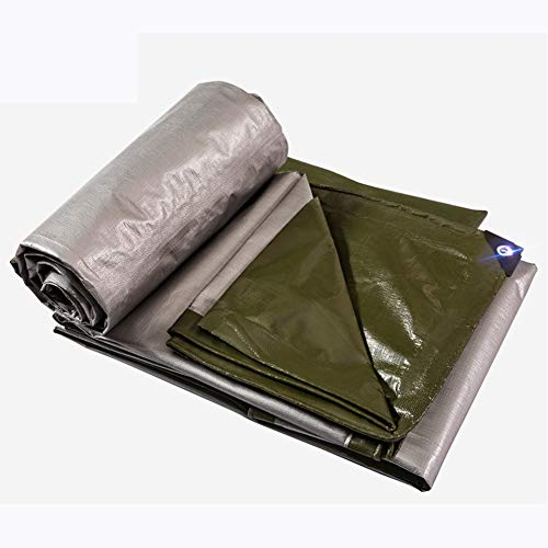 ZfgG Tarpaulin Double-Sided Waterproof Windproof Outdoor Gardening Sun Protection Cover Truck Shed Cloth Anti-Oxidation, Polyethylene, Green and Silver Two-Tone (Size : 4x8m) ()