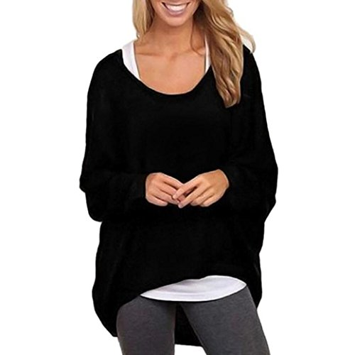 Fheaven Women Batwing Sleeve Loose Sweater Pullover Casual Top Blouse (XL, Black)