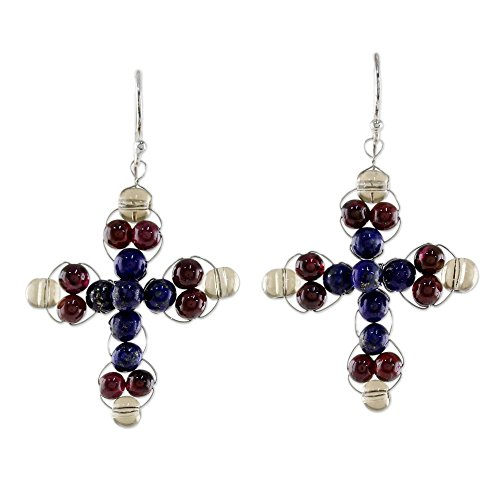 (NOVICA Multi-Gemstone Garnet and Lapis Lazuli Dangle Earrings 'Precious Cross')