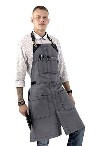 Under NY Sky No-Tie Zinc Gray Apron - Full Grain Leather Straps - Durable Denim, Split-Leg, Adjustable for Men and Women - Pro Chef, Pastry, Tattoo Artist, Barista, Bartender, Stylist, Server Apro (Cleaning Zinc Tops Table)