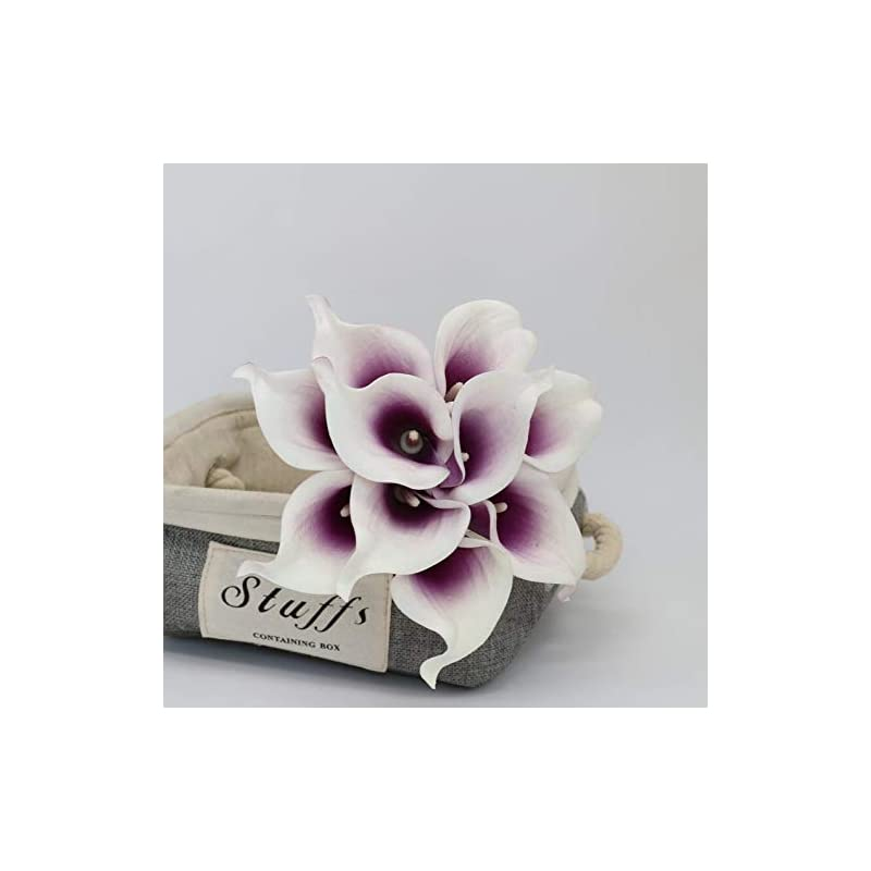 """silk flower arrangements floral kingdom usa 14"""" real touch latex calla lily bunch artificial spring flowers for home decor, wedding bouquets, and centerpieces (pack of 10) (mauve purple white)"""
