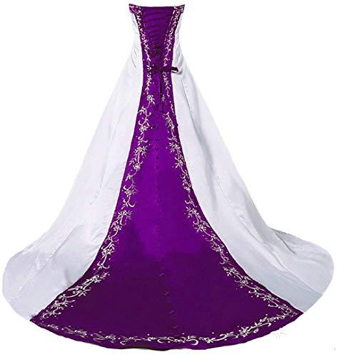 Vantexi Women's Strapless A-line Wedding Dress Bridal Gown White & Purple Size 26
