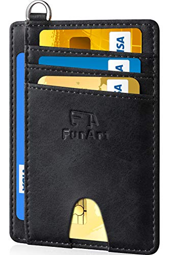 FurArt Slim Minimalist Wallet, Front Pocket Wallets, RFID Blocking, Credit Card Holder with Disassembly D-Shackle ()