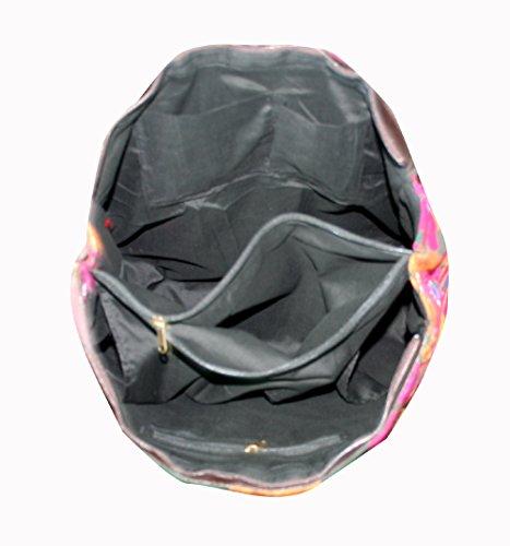 Color Trasportare Spalla Tote Sera Borsa Banjara Silkroude Art Handmade Lavoro Specchio Rosa C6Hpq6