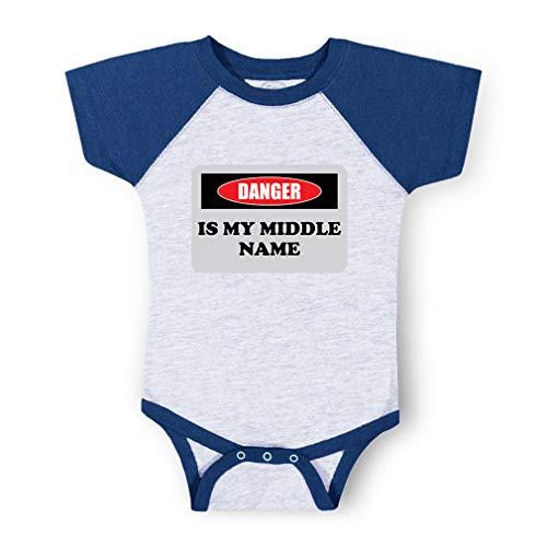 Danger is My Middle Name Short Sleeve Taped Neck Boys-Girls Cotton Baby Baseball Raglan Bodysuit Jersey - Gray Royal Blue, 24 Months