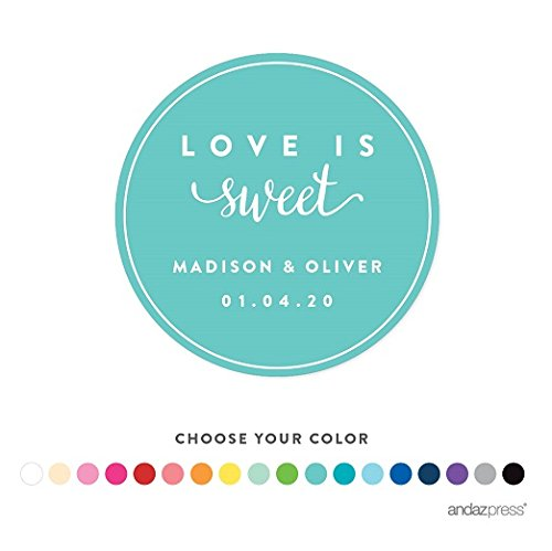 Andaz Press Personalized Circle Labels, Wedding, Love is Sweet, 40-Pack - Custom Made Any Name -