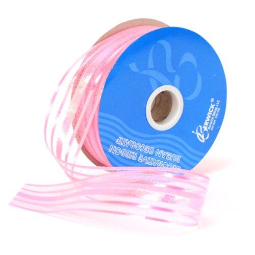 Berwick Halo Sheer Craft Ribbon, 1-1/4-Inch Wide by 25-Yard Spool, Pink