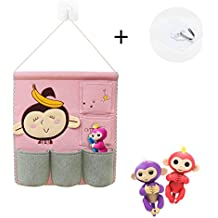 Fingerlings Monkey Toys Organizer, Linen Cotton Fabric Wall Door Cloth Hanging Storage Bag Case 5 Pocket Home Organizer (Monkey and Banana)
