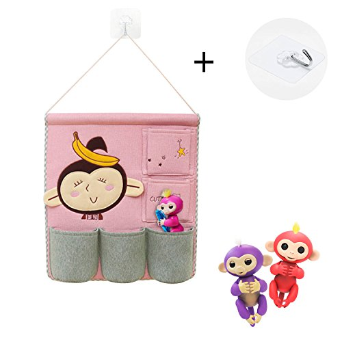 Fingerlings Monkey Toys Organizer, Linen Cotton Fabric Wall Door Cloth Hanging Storage Bag Case 5 Pocket Home Organizer (Monkey and Banana) (Sorts Banana)