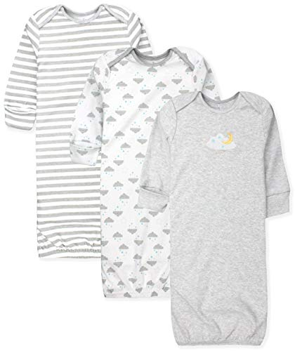 (Maybe Baby Kids Infant Boys' and Girls' 3 Pack Set Cotton Baby Gowns w/Mitten Cuffs & Easy Change Expandable Shoulders, 0-6 Months, Moon & Clouds)
