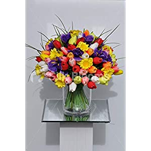 Silk Blooms Ltd Artificial Multi-Coloured Tulip, Iris and Daffodil Floral Arrangement w/Spikey Grass 31