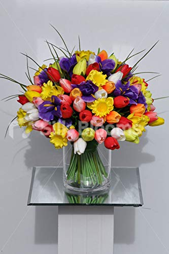 Silk-Blooms-Ltd-Artificial-Multi-Coloured-Tulip-Iris-and-Daffodil-Floral-Arrangement-wSpikey-Grass