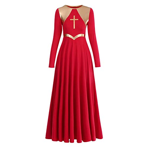 Praise Dance Dresses for Women Metallic Cross Liturgical Lyrical Dancewear Color Block Full Length Robe Worship Costume Dance Outfits Church Christmas Dresses Easter Sunday Red + Gold Cross S (For Christmas Dance Outfits)