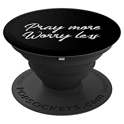 Pray More Worry Less Jesus Christian Prayer Phone Accessory - PopSockets Grip and Stand for Phones and Tablets ()