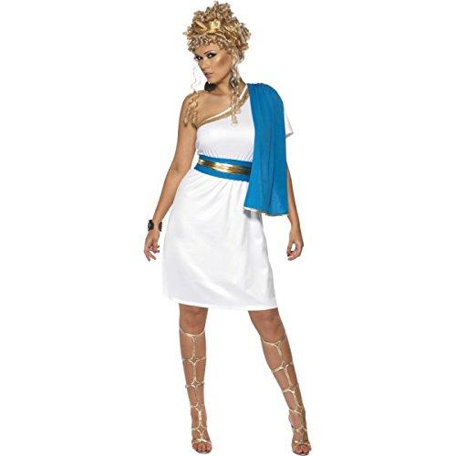 Smiffys Womens Roman Greek White Blue Toga Halloween Costume L